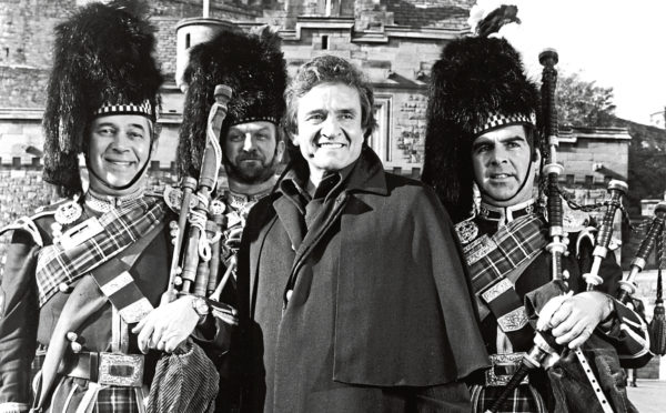 Johnny Cash in 1981 during a visit to Scotland for a TV special. The Man in Black was proud of his family's roots in Falkland, Fife