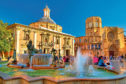 Square of Saint Mary and fountain Rio Turia in Valencia