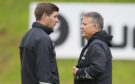 Rangers manager Steven Gerrard with Director of Football Mark Allen at training