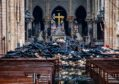 Debris inside the Notre-Dame-de Paris Cathedral