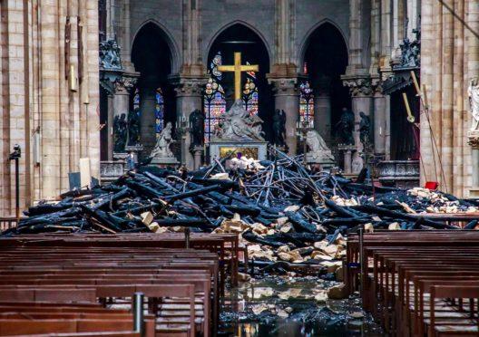 Debris inside the Notre-Dame-de Paris Cathedral