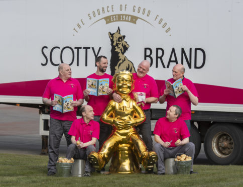Scotty Brand collected together all their 'Wullies' to be pictured with Oor Wullie in Airdrie in support of Oor Wullie's Big Bucket Trail.