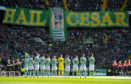 Celtic and Kilmarnock's players observe a minute's applause on an emotional day as the club pay tribute to European Cup winning captain Billy McNeill