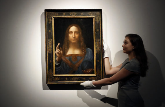 "Leonardo da Vinci's ""Salvator Mundi"" on display at Christie's auction rooms in London."