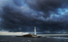 Clouds over St Marys Lighthouse in Whitley Bay. Weather forecasters have warned of gusts of up to 80mph and low temperatures this weekend, with Storm Hannah expected to hit the UK.