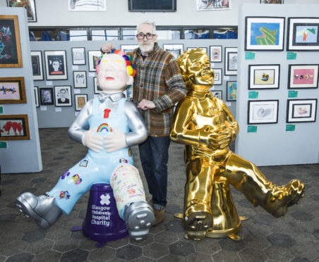 John Byrne with two of 150 Oor Wullie sculptures in Tannahill Centre on his return to home town Paisley