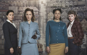 Rachael Stirling, second left, with The Bletchley Circle: San Francisco co-stars Julie Graham, Crystal Balint and Chanelle Peloso