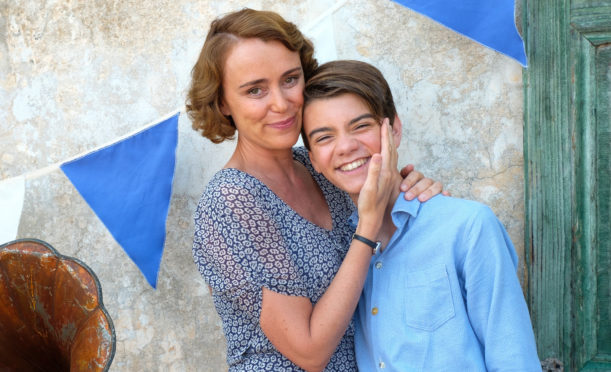 Keeley Hawes and co-star Milo Parker