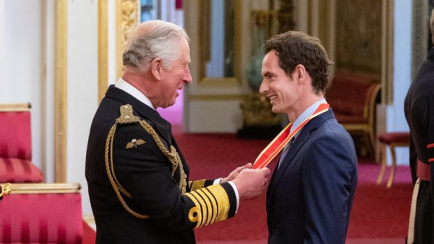Sir Andy Murray receives his knighthood from the Prince of Wales