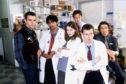 Ace Bhatti, Helen Baxendale, Andrew Clover,  Andrew Lancel and Peter O'Brien  in Cardiac Arrest, filmed in Glasgow
