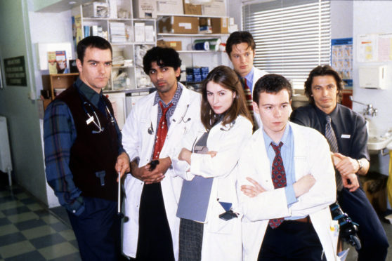 Ace Bhatti, Helen Baxendale, Andrew Clover,  Andrew Lancel and Peter O'Brien  in Cardiac Arrest, filmed in Glasgow