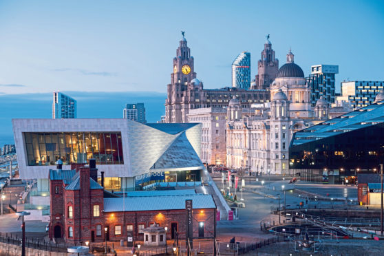 Liverpool Pier Head at dusk