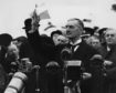 "Prime Minister Neville Chamberlain delivers his famous ""Peace for our time"" speech on September 30, 1938"