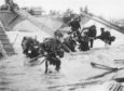 British troops make their way to Juno beach as the invasion gets under way