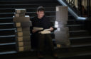 Author Ian Rankin today at National Library of Scotland after gifting his archive.