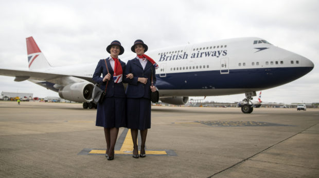 7c0423735c23b7 PA Ambassadors Elysa Marsden (left) Olivia Welch in front of a Boeing 747  in British
