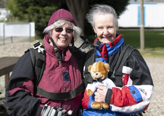 Helen Woods pictured with her pal and fellow jumper Anne Fiddes