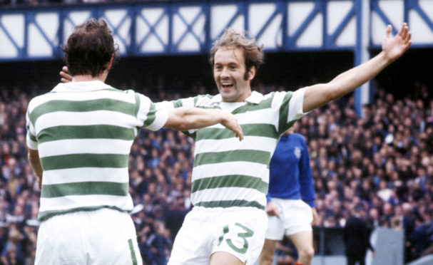 Harry Hood (right) celebrates scoring against Rangers with Bobby Lennox in 1973