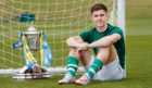 Celtic's Kieran Tierney with the Scottish Cup trophy