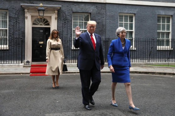 Melania Trump, US President Donald Trump and Prime Minister Theresa May leave 10 Downing Street