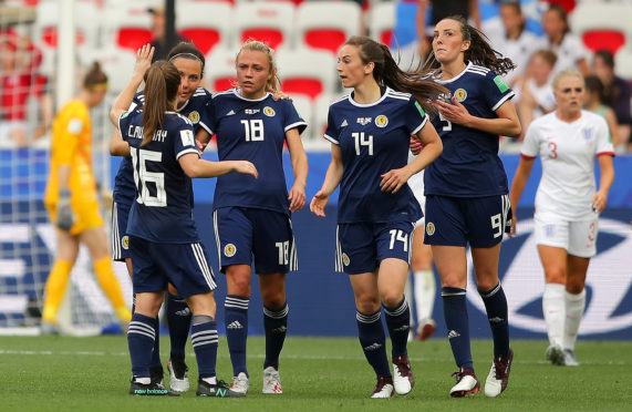 Scotland celebrate pulling a goal back against England