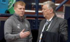 Celtic manager Neil Lennon (L) alongside club Chief Executive, Peter Lawwell