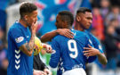 Jermain Defoe with Rangers teammates Alfredo Morelos and James Tavernier