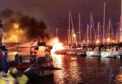 The moored yacht ablaze in Troon