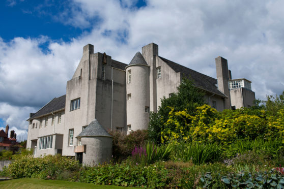 An exterior view of Hill house designed by Charles Rennie Mackintosh and built for Walter Blackie in Helensburgh, in Scotland