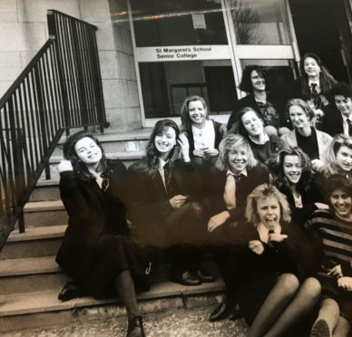 Clare Johnston as a pupil at St Margaret's School, Edinburgh. (far left)