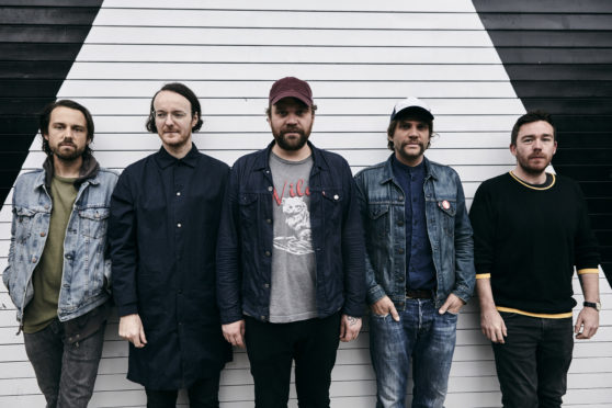 Scott Hutchison (third from left) with his Frightened Rabbit bandmates