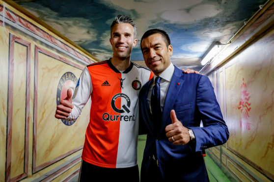 Giovanni van Bronckhorst with Robin van Persie. They both left Feyenoord at the end of the Dutch season