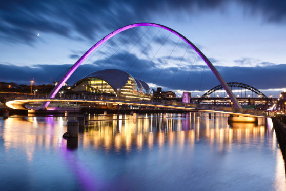 Millennium Bridge spanning the Tyne between Gateshead and Newcastle