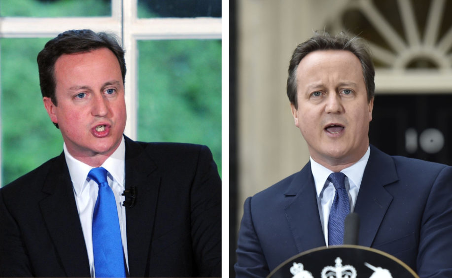 David Cameron. L: Giving a press conference after the 2010 General Election, R: Resigning as Prime Minister in 2016.