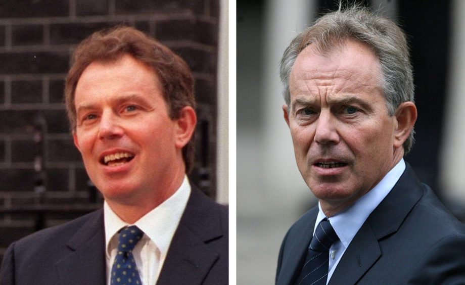 Tony Blair. L: Addressing the nation for the first time as Prime Minister, R: At a memorial service for Princess Diana shortly after his resignation.