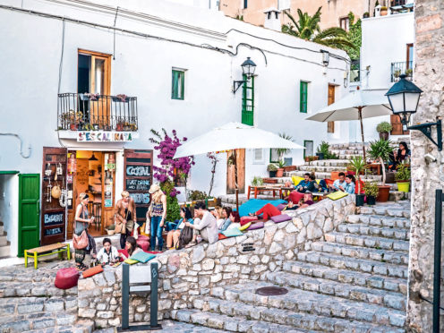 Ibiza, Spain - May 23, 2015. The Ibiza culture means to enjoy the life in the clubs and bars.