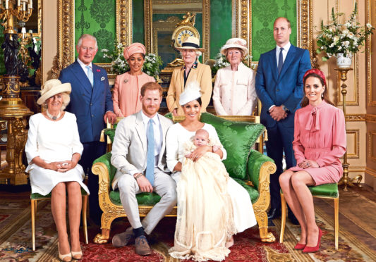 The official photo... The Duke and Duchess with their son, Archie and (left to right) the Duchess of Cornwall, the Prince of Wales, Doria Ragland, Lady Jane Fellowes, Lady Sarah McCorquodale, and the Duke and The Duchess of Cambridge