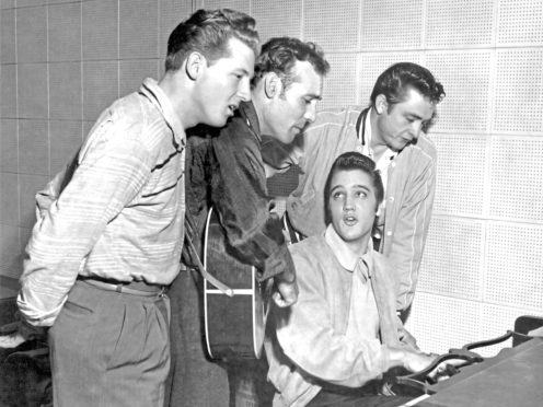 Johnny Cash in 1956 with Jerry Lee Lewis, Carl Perkins and Elvis Presley