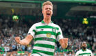 Celtic's Kristoffer Ajer celebrates the opener against Nomme Kalju