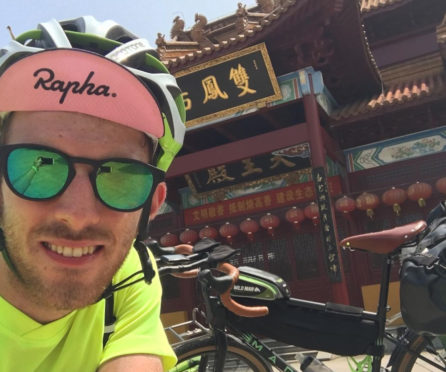 Ross McKechnie, a PE techer from Scotland is beginning a charity bike ride from China to Scotland, 10,000 miles and through 21 countries.