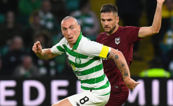 Celtic captain Scott Brown in action against Sarajevo