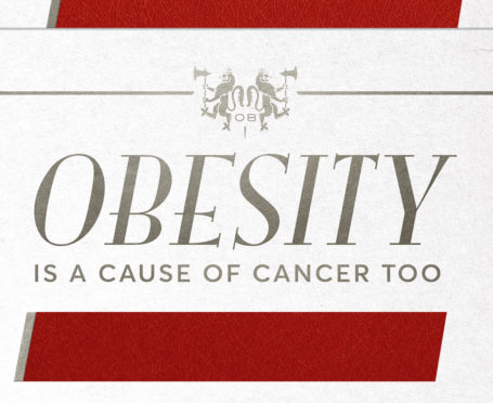 One of the posters from the new Cancer Research UK campaign, comparing obesity to the perils of smoking.