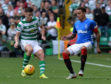 Kieran Tierney takes on Rangers captain James Tavernier