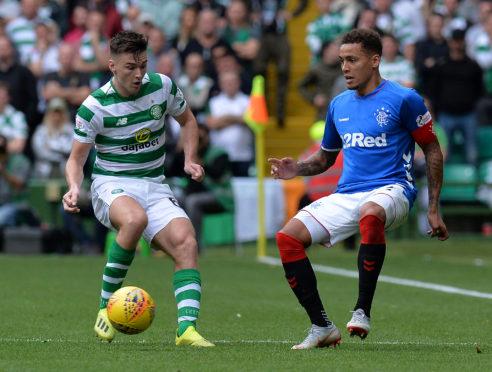 Kieran Tierney takes on Rangers captain James Tavernier