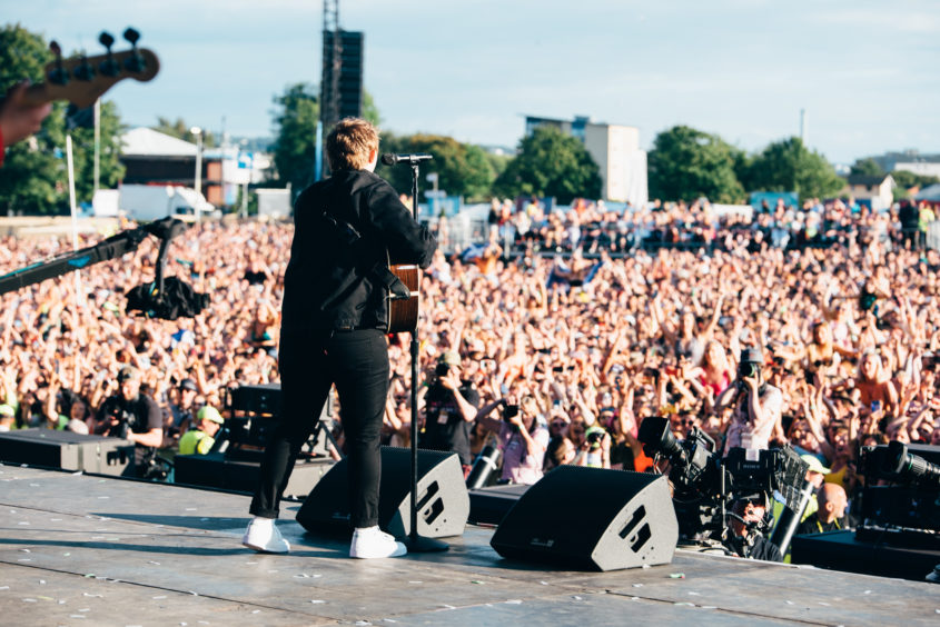 Lewis Capaldi looks out on the crowd