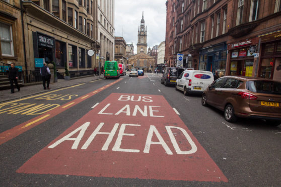 One of Glasgow's existing bus lanes on West George St