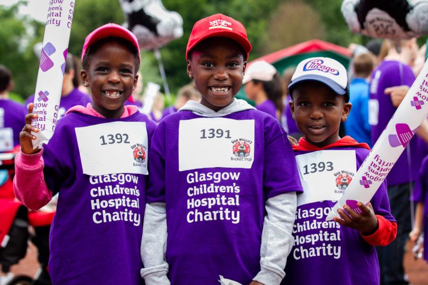 L-R: Ayla Nabunya (7), Stephanie Kalemba (5), Aaron Debunks (5) from Glasgow