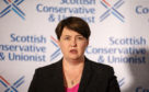 Ruth Davidson addresses the media during her resignation speech
