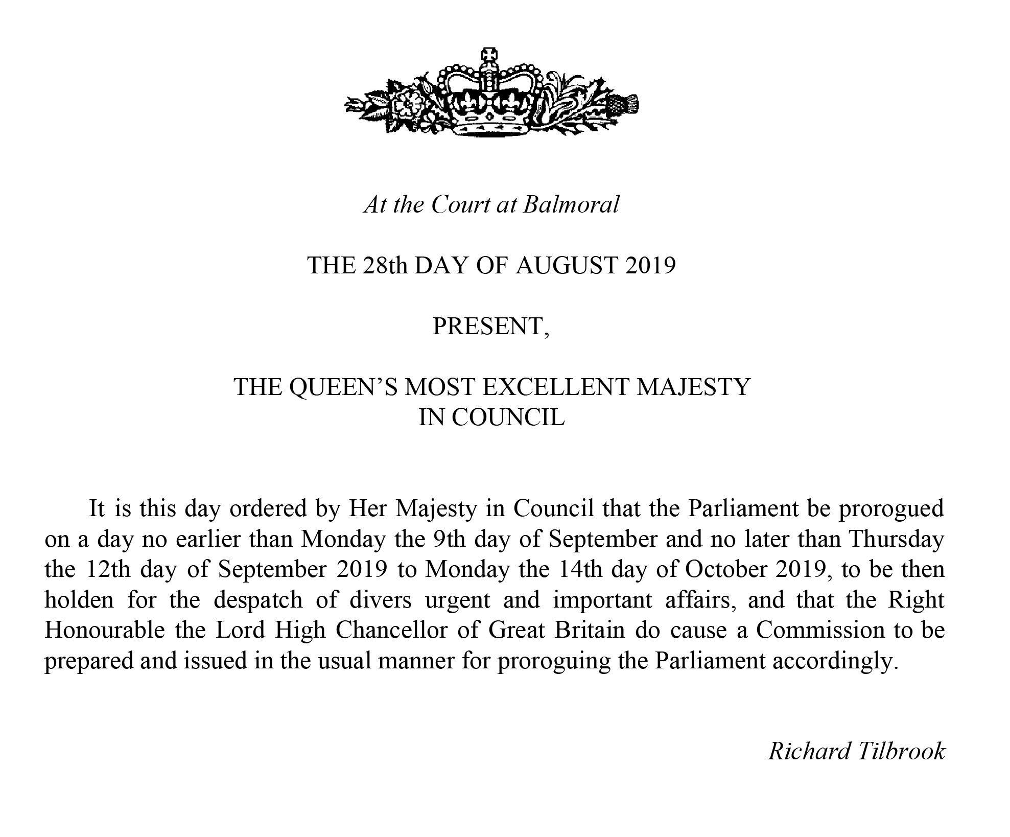 Parliament prorogation: The Queen approves Boris Johnson's