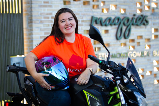 Evolution Women's Motorcycle Club's Kaat McLeod from Hamilton at Maggie's Centre, Monklands Hospital, Airdrie